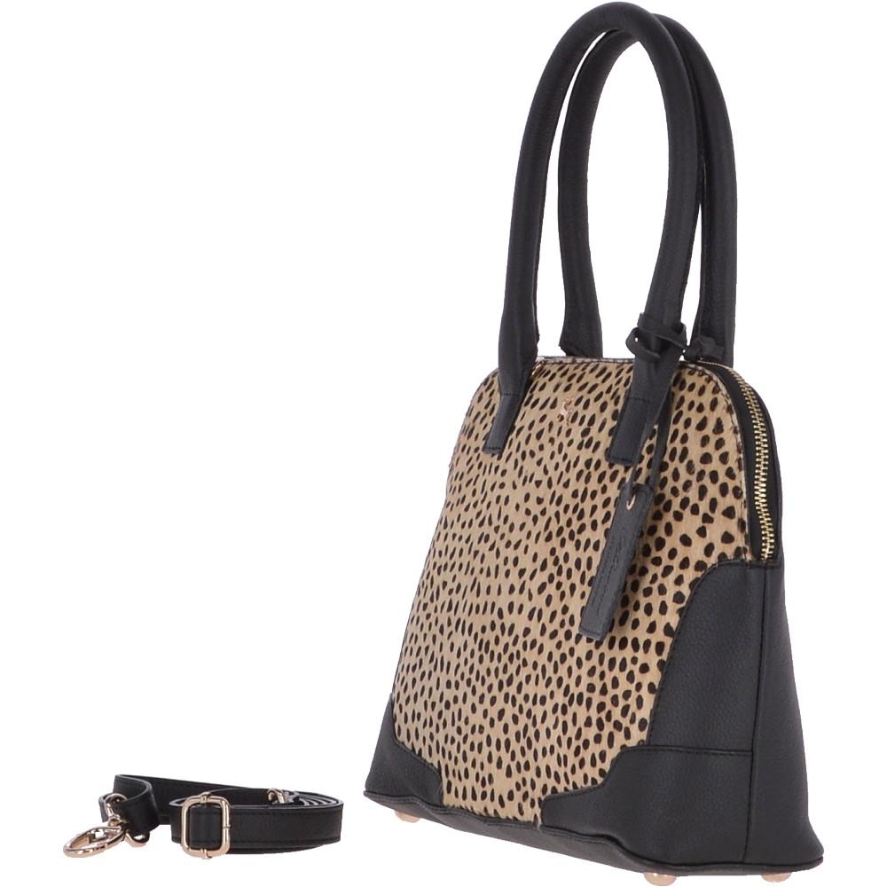 Ashwood Womens Natural Hair On Hide Medium Leather Tote Bag DotBlack Marble | Ashwood Handbags